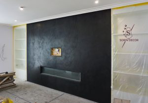 Black polished plaster